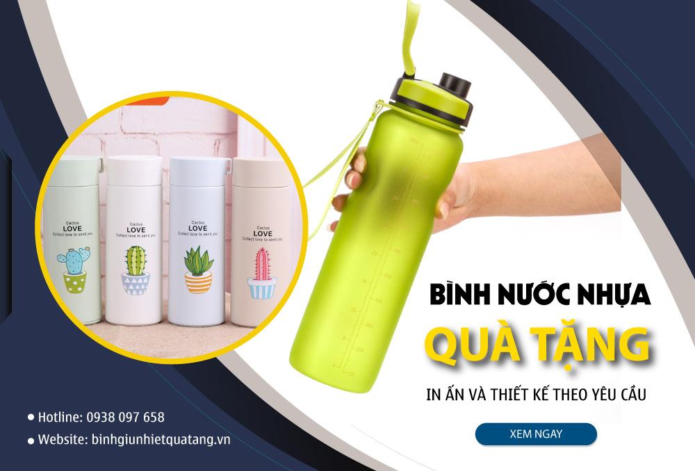 banner bình nước nhựa in logo