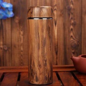 bình giữ nhiệt gỗ vỏ tre khắc logo